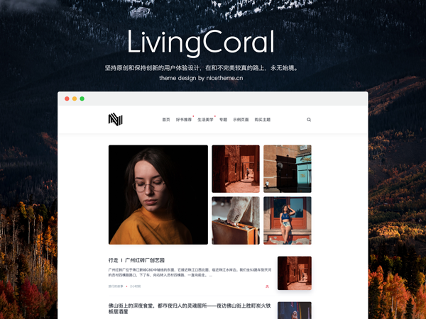 [WP酷专享特惠] LivingCoral - 珊瑚橙极简主义 WordPress 博客主题